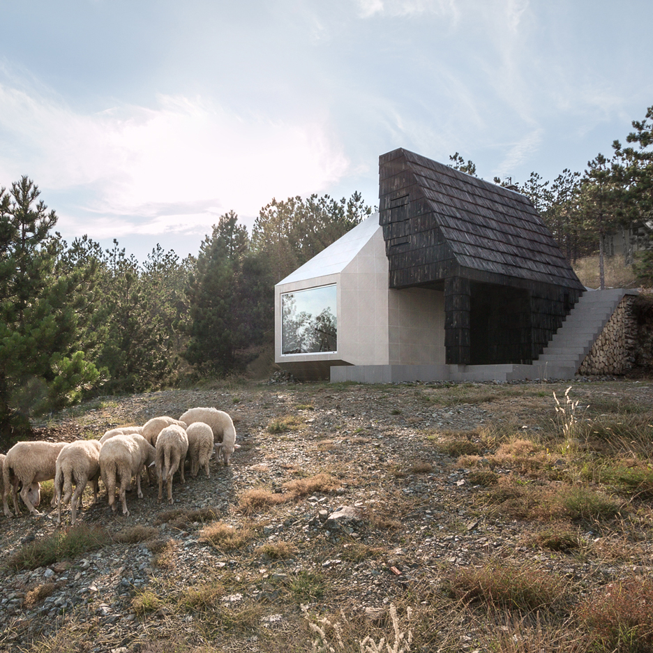 Leather Sectionals for Sale Serbian mountain home by EXE Studio clad